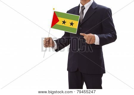 Businessman with  Sao Tome and Principe Flag