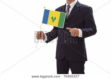Businessman with Saint Vincent and Grenadines Flag