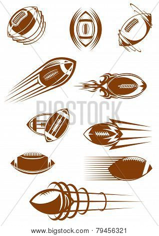Brown Rugby Ball Icons