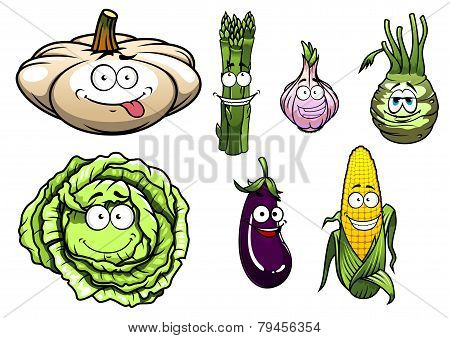 Cartooned Squash, Asparagus, Garlic, Kohlrabi, Cabbage, Eggplant, Corn Vegetables