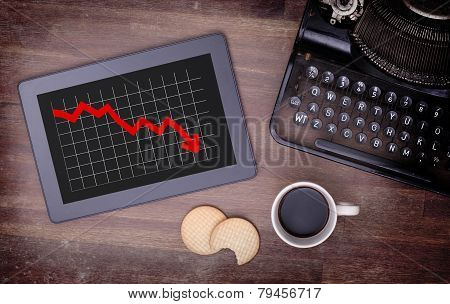 Tablet Touch Computer Gadget On Wooden Table, Graph Negative