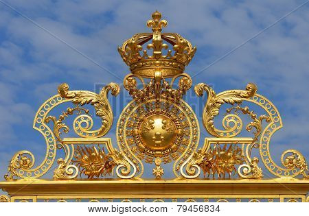 France, Golden Gate Of Versailles Palace In Les Yvelines