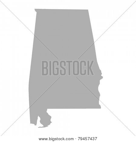 Alabama State map isolated on a white background, U.S.A.