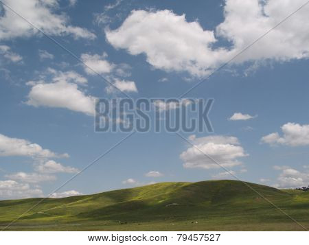green hilltop and cloudy blue sky
