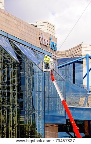 Cleaning ICC windows, Birmingham.