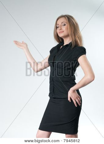 Business Woman Pointing Copy Space