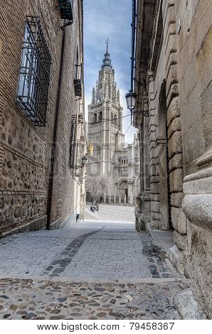 Cathedral Located At Toledo, Spain