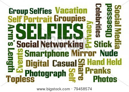 Selfies word cloud on white background