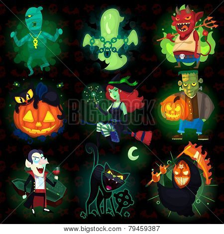 Set Of Halloween Characters