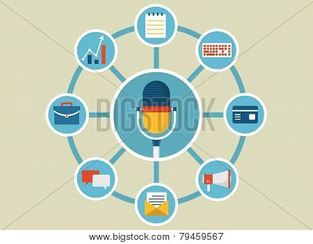Vector Flat Illustration Of Command Voice For Manage Business And Life