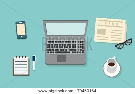 Workplace Of Businessman With Mobile Devices, Laptop, Newspaper And Documents For Work. Flat Design
