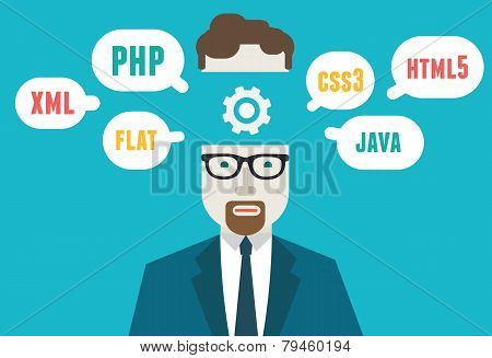 Flat Vector Illustration Of Programmer And Process Coding And Programming. Workflow And Planning