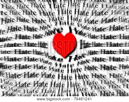 Words of hate surrounded by large red heart symbolizing that love is more powerful than hate