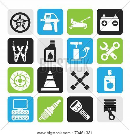 Silhouette Transportation and car repair icons