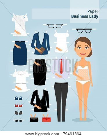 Business lady paper doll. Cute girl in office clothes
