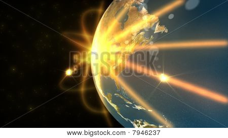 Animation Showing A Big Terrestrial Globe