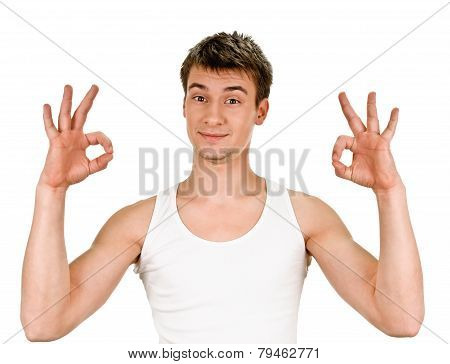 young man indicating ok sign