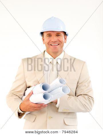 Confident Architect Holding Blueprints