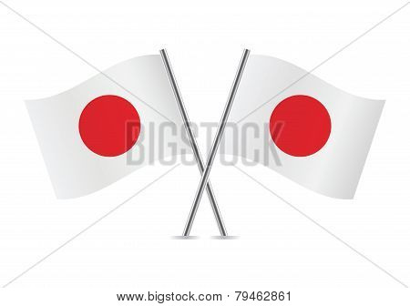 Japanese flags. Vector illustration.