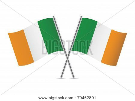 Irish flags. Vector illustration.