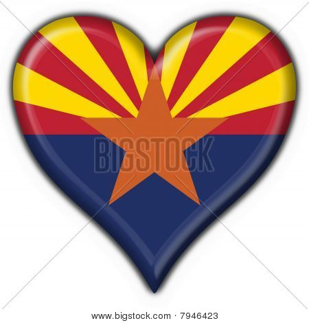 Arizona (usa State) Button Flag Heart Shape