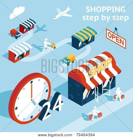 Cartooned Shopping Concept Design