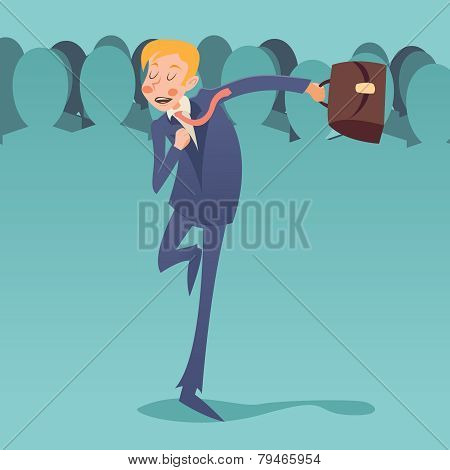 Running Hurry for Meeting Businessman Retro Vintage Cartoon Character Icon on Stylish Crowd People B