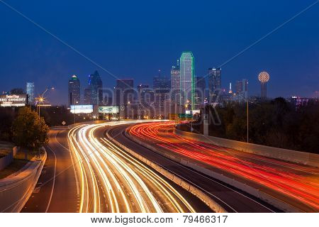 DALLAS,TEXAS - DEC 08:Dallas downtown at dusk on December 08, 2012 - Dallas is the eighth most popul