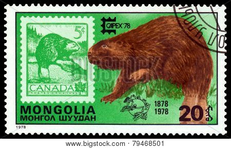 Vintage  Postage Stamp. Eurasian Beaver And Canada.