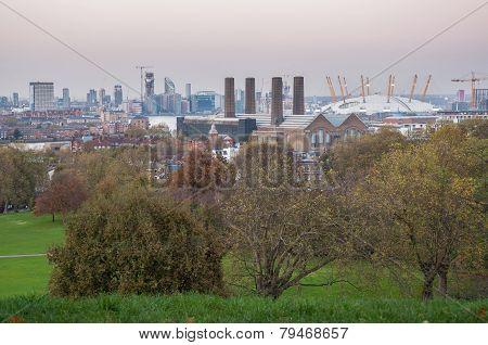 Skyline Of London At Dusk. View From Greenwich Hill.