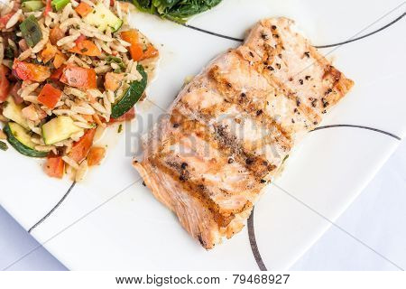 Healthy Menu - Delicious Grill Salmon With Side Dishes