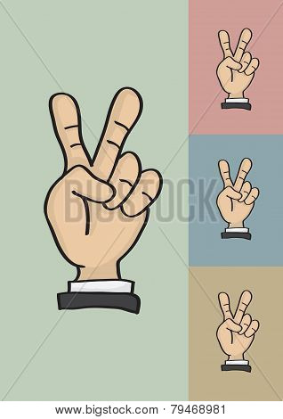 Victory Or Peace Hand Sign Vector Illustration