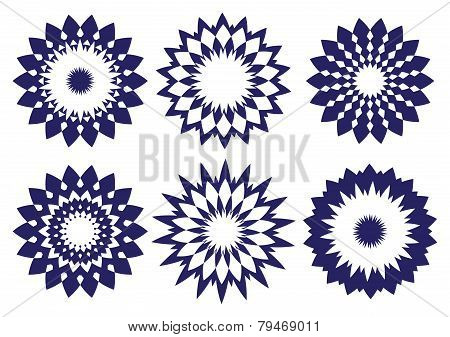 Midnight Blue Abstract Vector Kaleidoscopic Design Element