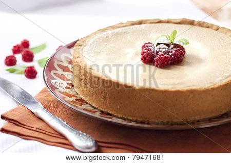 Coffee And Cream Cake With Raspberries