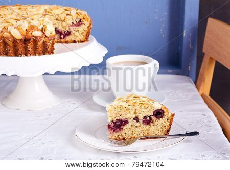 Almond And Cherry Coffee Cake