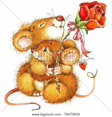 Valentine Day. Background For A Card With A Cute Mouse And Rose. Watercolor Drawing