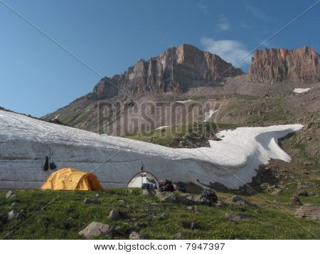 Campsite beneath Uncompahgre Peak in Colorado
