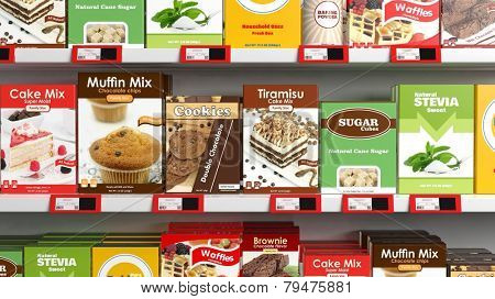 Various 3D sweets products on supermarket shelve