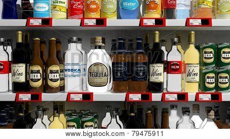 Various 3D beverages products on supermarket shelve