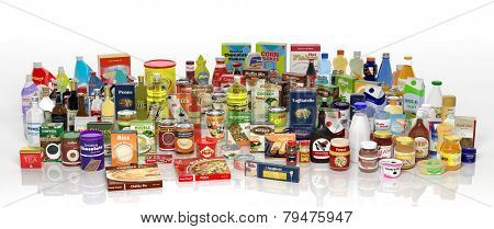 Various 3D grocery products isolated on white