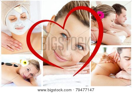 Collage of young people having relaxation treatments against heart
