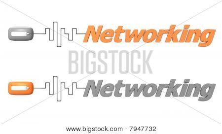 Rede de palavra conectado a um Mouse - laranja e cinza