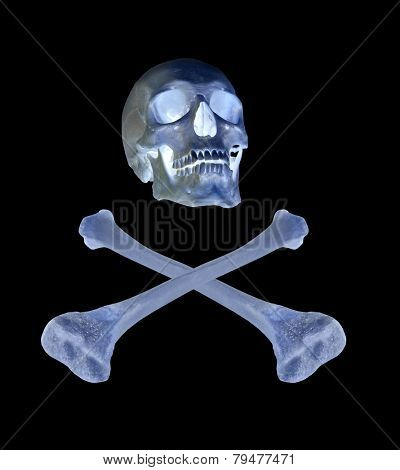 skull and crossed bones isolated on black background
