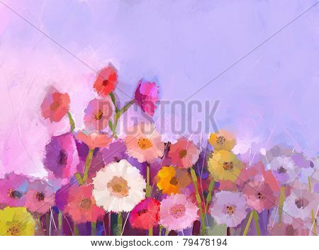 Gerbera Flower Oil Painting