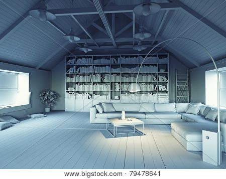 beautiful modern attic interior 3d design concept. Grayscale effect