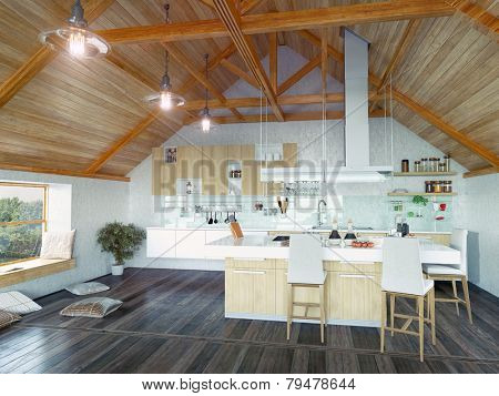 modern kitchen interior with  island in the attic (3d design concept)
