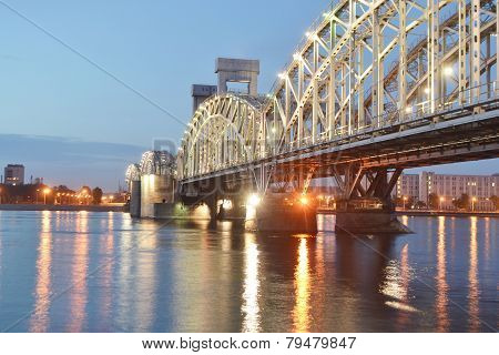 Finland Railway Bridge At Night