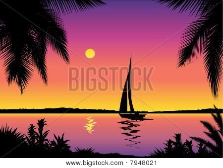 Tropical sea view with sailboat