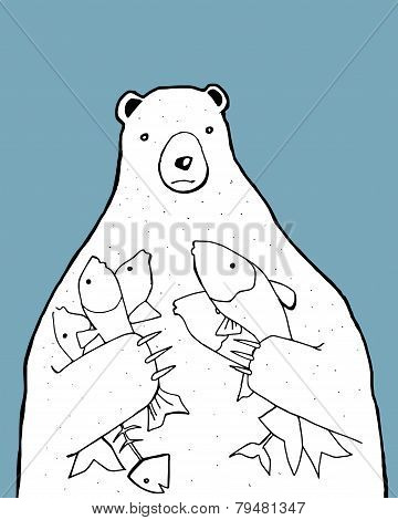 Bear with fishes