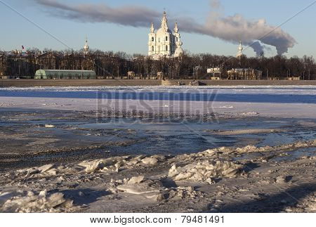 Neva ice and Smolny Cathedral. Saint Petersburg